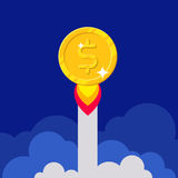 Dollar coin rocket starting Royalty Free Stock Images