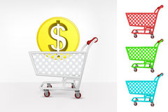 Dollar coin in shopping cart colorful collection concept vector Royalty Free Stock Image