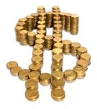 Dollar coin sign. Gold coins in the form of dollar Royalty Free Stock Photo