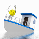 Dollar coin on the sinking boat illustration Royalty Free Stock Photography