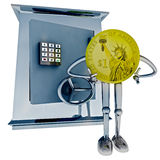 Dollar coin standing in front of vault illustration Stock Photos