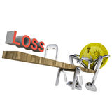 Dollar coin swing down to loss illustration Royalty Free Stock Image