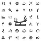 Dollar coin and time balance on scale icon. Business icons set Stock Photo