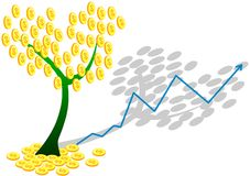 Dollar coin tree and chart. Dollar money tree and ascending chart Stock Photos