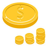 Dollar coin vector icon illustration. Gold metal money stack. Royalty Free Stock Images