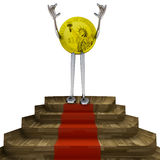 Dollar coin victory pose on red carpet illustration Stock Photography