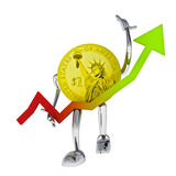 Dollar Coin With Positive Graph Report Stock Image