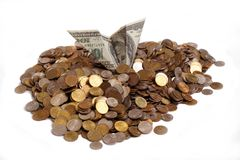 Dollar and coins. Crash dollar plane in heap of coins Stock Images