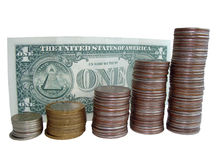 Dollar and coins Stock Images