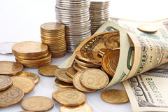 Dollar with coins Royalty Free Stock Photography