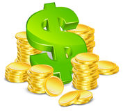 Dollar and coins Stock Photo
