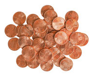 Dollar coins 1 cent isolated over white Stock Images