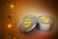 Dollar coins. In color background Stock Photography
