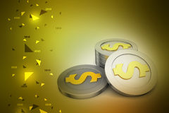 Dollar coins. In color background Royalty Free Stock Photography