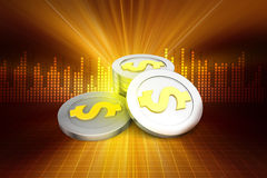 Dollar coins. In color background Stock Image