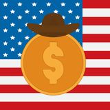 Dollar coins with cowboy hat on USA flag on background stock images