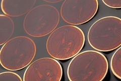 Dollar coins in the crude oil Stock Photo