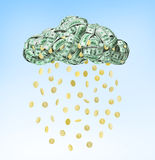 Dollar coins falling from the clouds. Isolated on blue backgroundisolated on blue background Stock Illustration