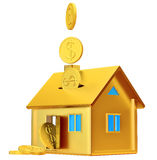Dollar coins falling down to the money box Stock Photography