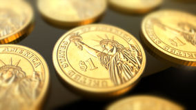 Dollar coins financial concept. Glossy dollar coins in blurred closeup. Finance and banking as concept Stock Image