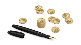 Dollar coins and  fountain pen on Stock Image