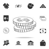 Dollar coins icon. Detailed set of finance, banking and profit element icons. Premium quality graphic design. One of the collectio. N icons for websites, web Stock Photos
