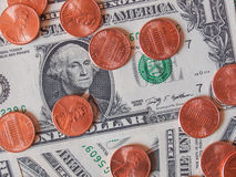 Dollar coins and notes Royalty Free Stock Photos