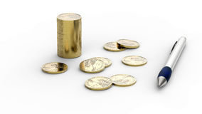 Dollar coins and  pen on white Stock Photo