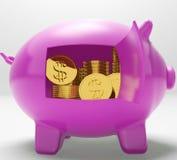 Dollar Coins Piggy Shows Prosperity And Security. Dollar Coins Piggy Showing Prosperity And Security Stock Photos