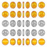 Dollar coins rotation Royalty Free Stock Photography