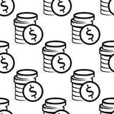 Dollar coins seamless pattern Royalty Free Stock Photos