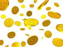 Dollar Coins Shows United States And Bank Stock Image