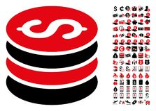 Dollar Coins Stack Icon with 90 Bonus Pictograms. Dollar coins stack icon. Vector illustration style is flat iconic symbols in black and red colors. Bonus royalty free illustration