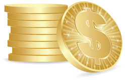 Dollar coins. Stack of dollar coins isolated on white Stock Image