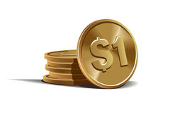 Dollar coins vector illustration Royalty Free Stock Images