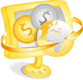 Dollar coins and world globe Royalty Free Stock Photos