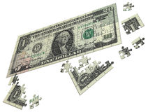 Dollar collected from puzzle Stock Image