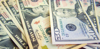 American Dollar. Collection of US dollar bills close up Stock Image