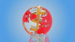 Dollar comme axe du monde banque de vidéos