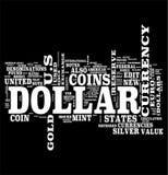 Dollar communication word cloud. Dollar word cloud on black background Royalty Free Stock Photos