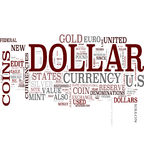 Dollar communication word cloud. Dollar word cloud on white background Stock Image
