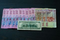 Dollar compared to Ukrainian hryvnia. Ukrainian hryvnia. Dollar compared to Ukrainian hryvnia royalty free stock image