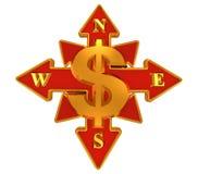 Dollar compass Royalty Free Stock Photos