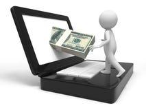 Dollar and computer Royalty Free Stock Photos
