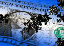 Dollar concept. Jigsaw piece pattern applied to US Dollar note Royalty Free Stock Image