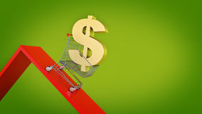 Dollar, concept Currency Decline. 3d rendering Royalty Free Stock Image