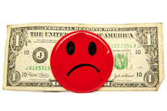 Dollar concept. Red negative face. Stock Images