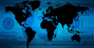 Dollar Continents. Background of continents. good to use for finances and business or something related to the world Royalty Free Stock Photos