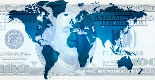 Dollar Continents. Background of continents. good to use for finances and business or something related to the world Royalty Free Stock Image