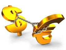 Dollar contre l'euro Image stock